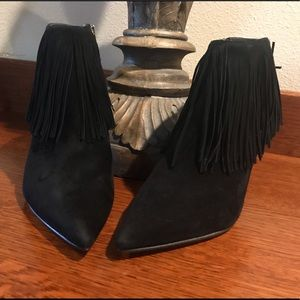 Beautiful Sam Edelman suede black fringe booties